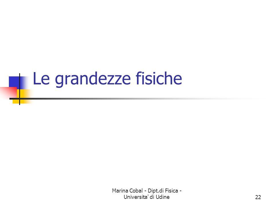Marina Cobal - Dipt.di Fisica - Universita' di Udine22 Le grandezze fisiche