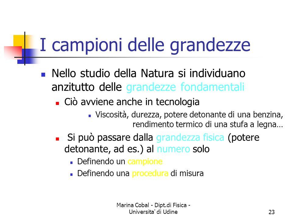 Marina Cobal - Dipt.di Fisica - Universita' di Udine23 I campioni delle grandezze Nello studio della Natura si individuano anzitutto delle grandezze f