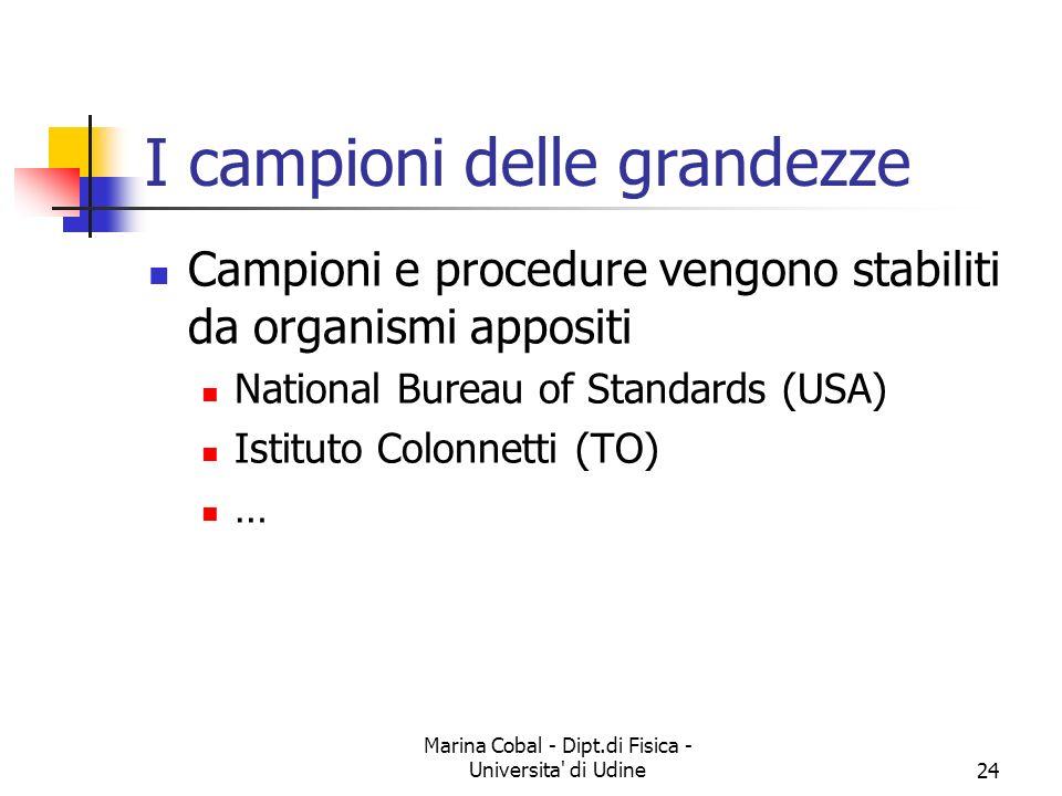 Marina Cobal - Dipt.di Fisica - Universita' di Udine24 I campioni delle grandezze Campioni e procedure vengono stabiliti da organismi appositi Nationa