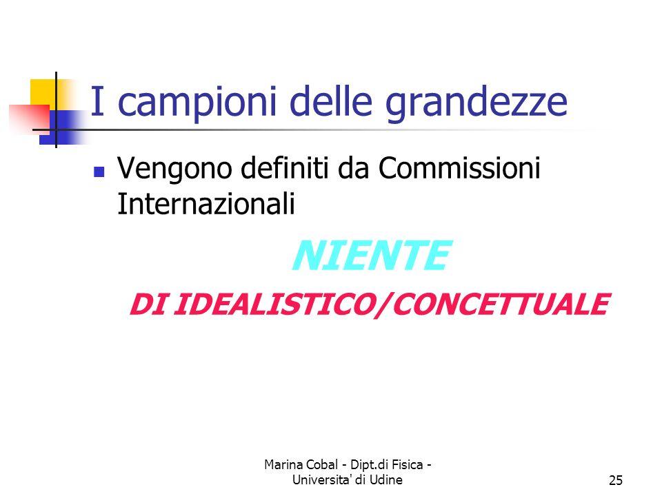 Marina Cobal - Dipt.di Fisica - Universita' di Udine25 I campioni delle grandezze Vengono definiti da Commissioni Internazionali NIENTE DI IDEALISTICO
