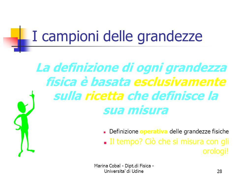 Marina Cobal - Dipt.di Fisica - Universita' di Udine28 I campioni delle grandezze La definizione di ogni grandezza fisica è basata esclusivamente sull