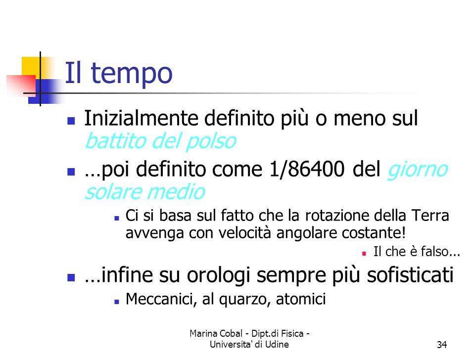 Marina Cobal - Dipt.di Fisica - Universita' di Udine34 Il tempo Inizialmente definito più o meno sul battito del polso …poi definito come 1/86400 del
