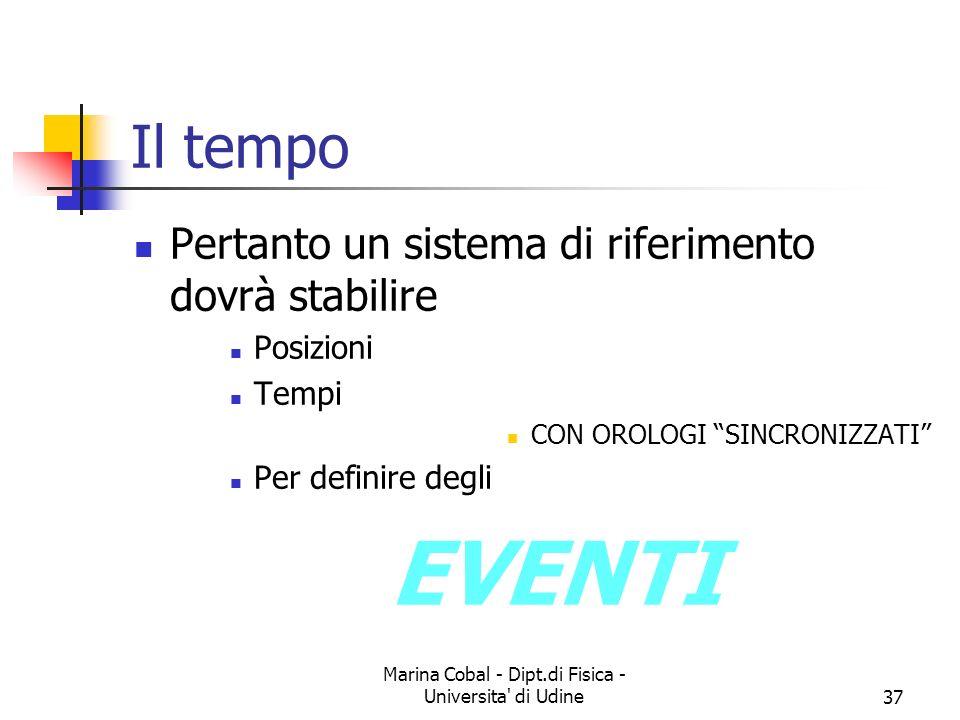Marina Cobal - Dipt.di Fisica - Universita' di Udine37 Il tempo Pertanto un sistema di riferimento dovrà stabilire Posizioni Tempi CON OROLOGI SINCRON