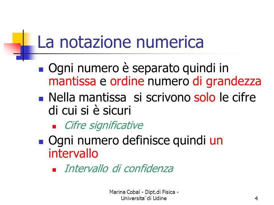Marina Cobal - Dipt.di Fisica - Universita' di Udine4 La notazione numerica Ogni numero è separato quindi in mantissa e ordine numero di grandezza Nel