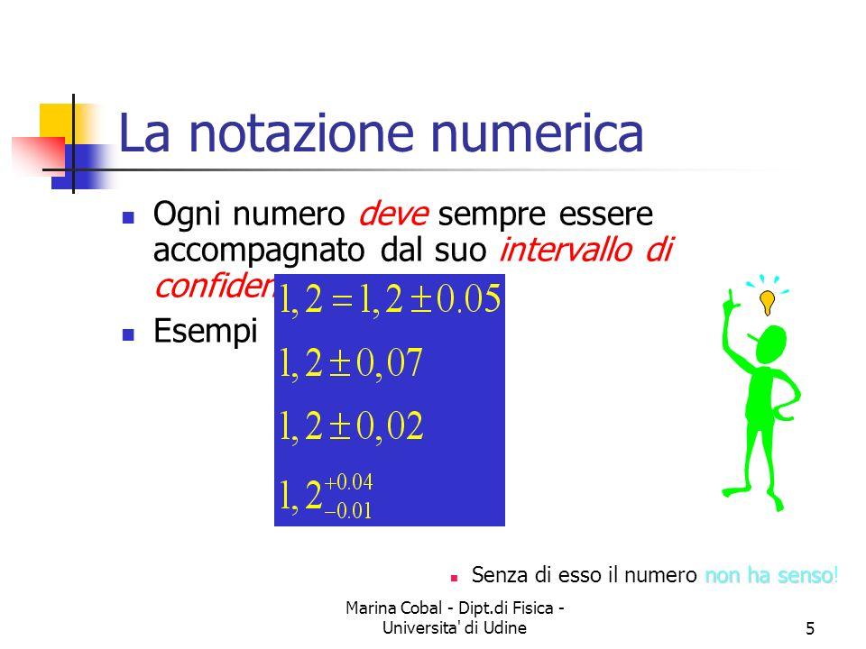 Marina Cobal - Dipt.di Fisica - Universita' di Udine5 La notazione numerica Ogni numero deve sempre essere accompagnato dal suo intervallo di confiden