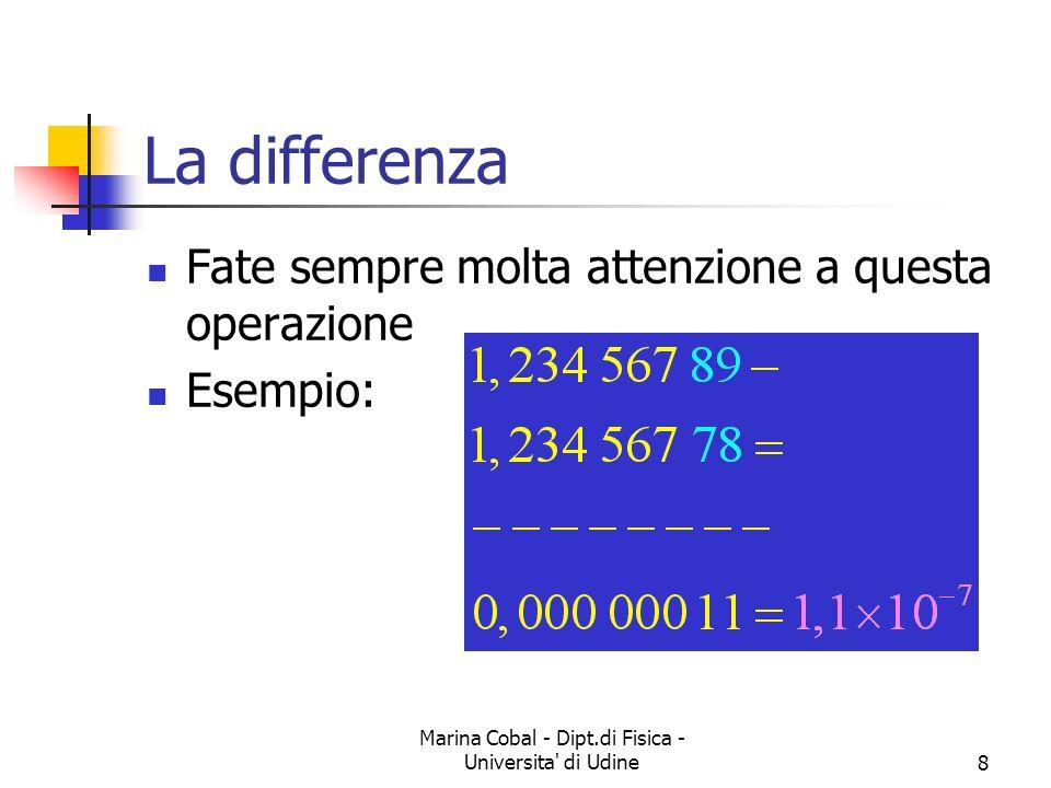 Marina Cobal - Dipt.di Fisica - Universita' di Udine8 La differenza Fate sempre molta attenzione a questa operazione Esempio: