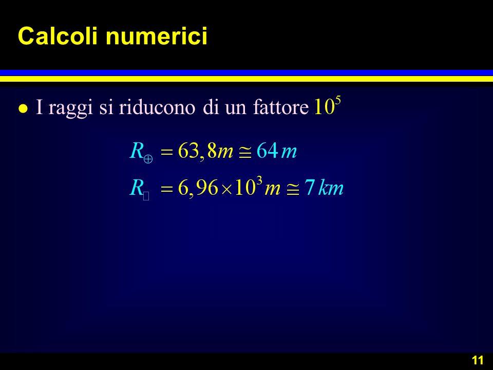 11 Calcoli numerici l I raggi si riducono di un fattore