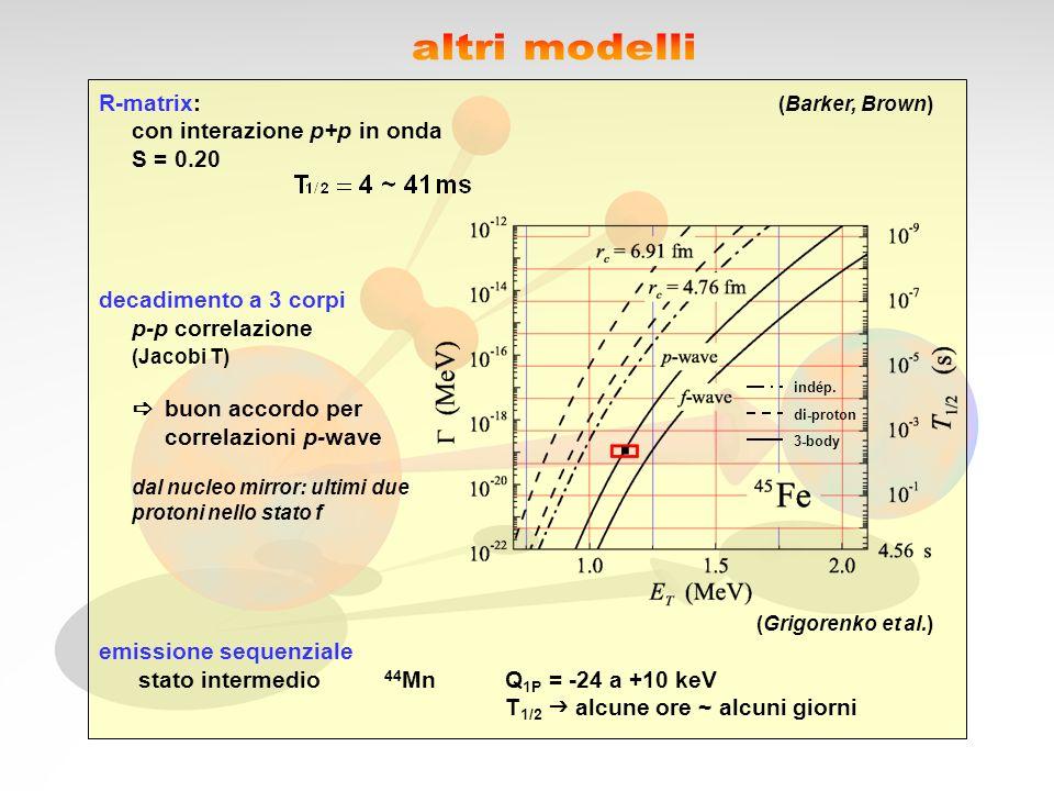 R-matrix: (Barker, Brown) con interazione p+p in onda S = 0.20 decadimento a 3 corpi p-p correlazione (Jacobi T) buon accordo per correlazioni p-wave