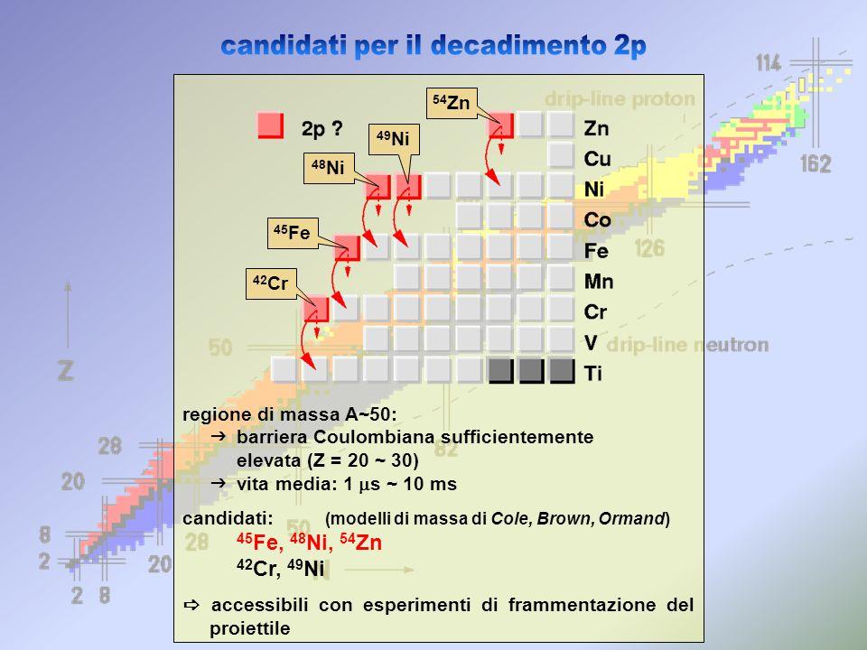 regione di massa A~50: barriera Coulombiana sufficientemente elevata (Z = 20 ~ 30) vita media: 1 s ~ 10 ms candidati: (modelli di massa di Cole, Brown