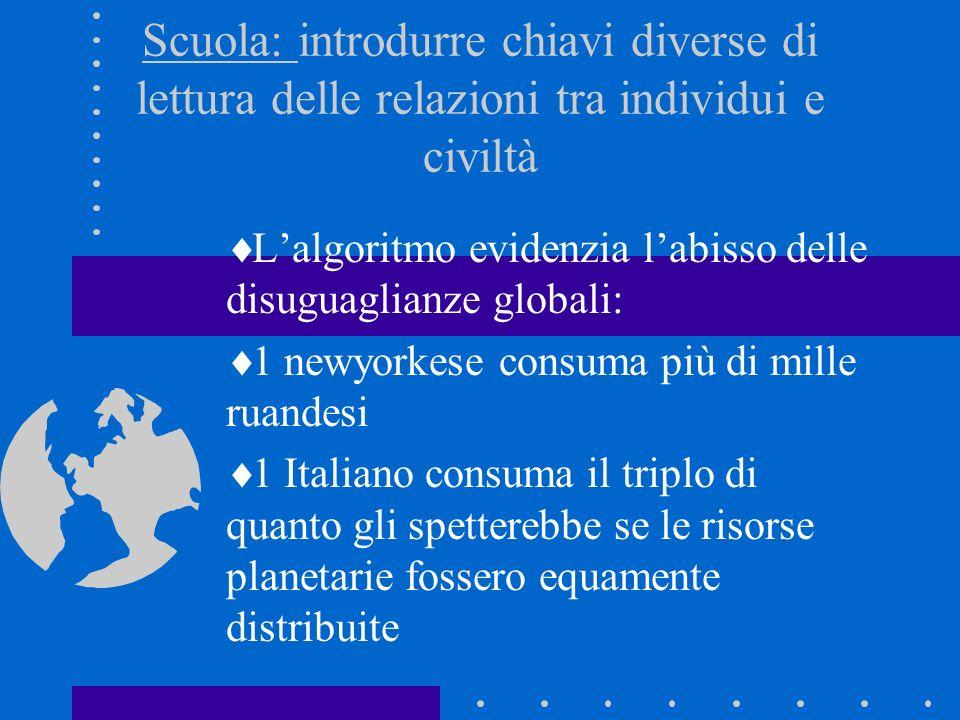 Scuola: introdurre chiavi diverse di lettura delle relazioni tra individui e civiltà Lalgoritmo evidenzia labisso delle disuguaglianze globali: 1 newy