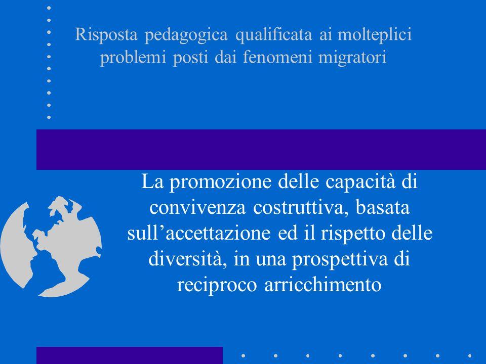 Risposta pedagogica qualificata ai molteplici problemi posti dai fenomeni migratori La promozione delle capacità di convivenza costruttiva, basata sullaccettazione ed il rispetto delle diversità, in una prospettiva di reciproco arricchimento