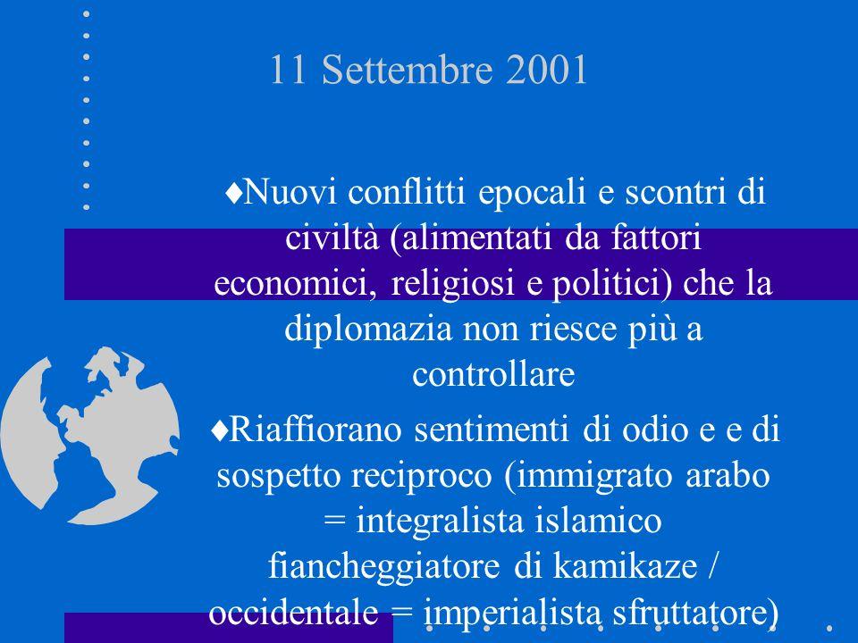 11 Settembre 2001 Nuovi conflitti epocali e scontri di civiltà (alimentati da fattori economici, religiosi e politici) che la diplomazia non riesce pi