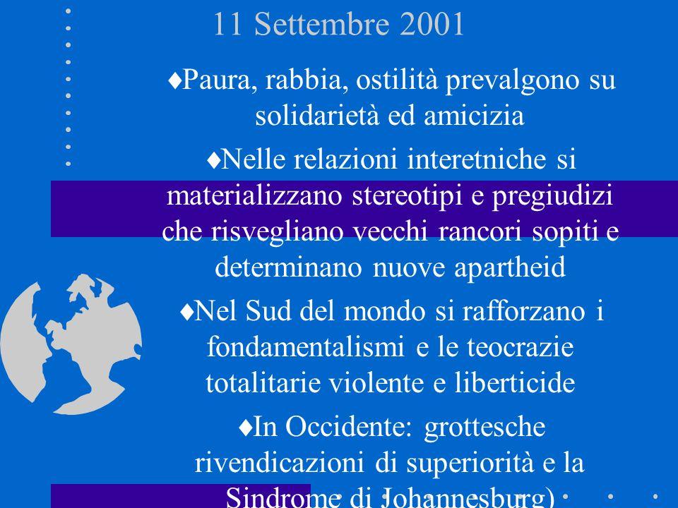 11 Settembre 2001 Paura, rabbia, ostilità prevalgono su solidarietà ed amicizia Nelle relazioni interetniche si materializzano stereotipi e pregiudizi