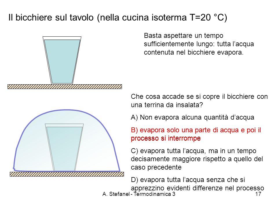 A. Stefanel - Termodinamica 317 Il bicchiere sul tavolo (nella cucina isoterma T=20 °C) Basta aspettare un tempo sufficientemente lungo: tutta lacqua