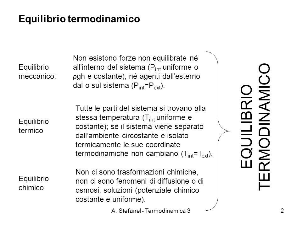 A. Stefanel - Termodinamica 32 Equilibrio termodinamico Equilibrio meccanico: Non esistono forze non equilibrate né allinterno del sistema (P int unif
