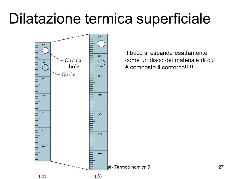 A. Stefanel - Termodinamica 327 Dilatazione termica superficiale Il buco si espande esattamente come un disco del materiale di cui è composto il conto