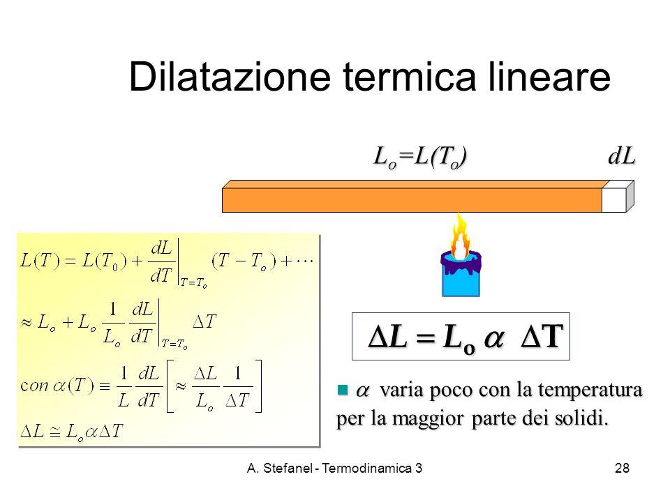 A. Stefanel - Termodinamica 328 L o =L(T o ) dL Dilatazione termica lineare L L o T L L o T varia poco con la temperatura per la maggior parte dei sol