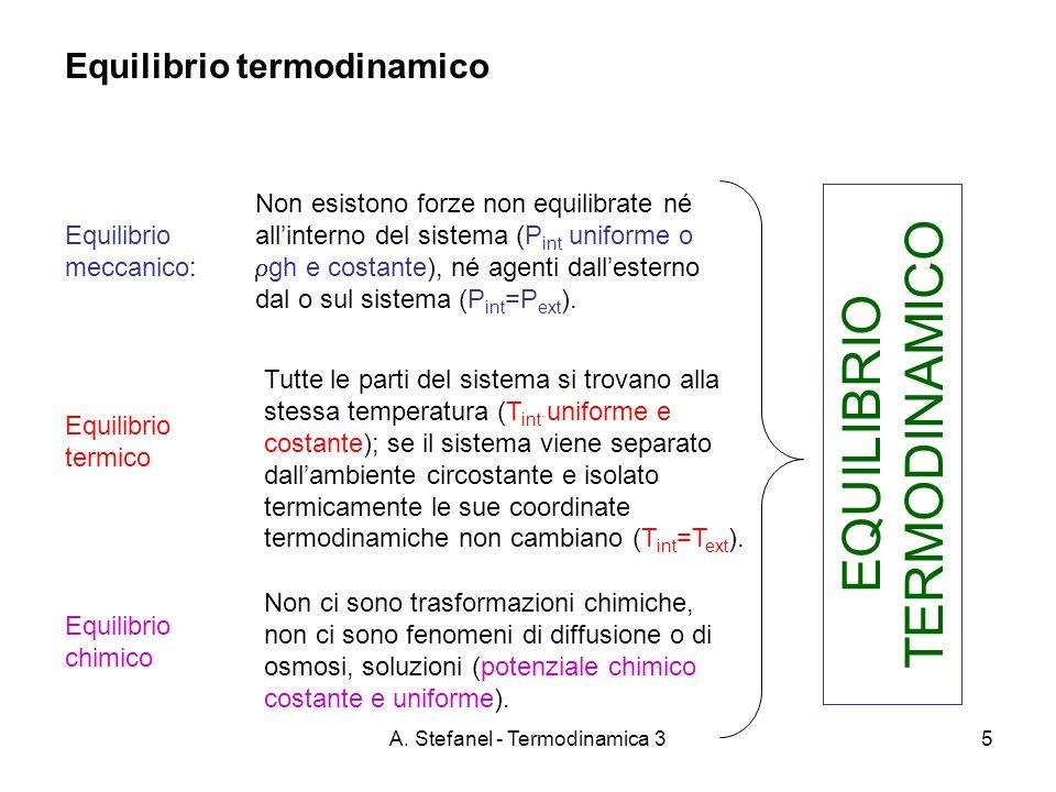 A. Stefanel - Termodinamica 35 Equilibrio termodinamico Equilibrio meccanico: Non esistono forze non equilibrate né allinterno del sistema (P int unif