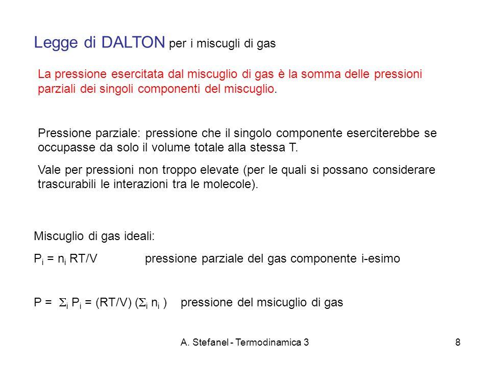 A. Stefanel - Termodinamica 38 Legge di DALTON per i miscugli di gas La pressione esercitata dal miscuglio di gas è la somma delle pressioni parziali