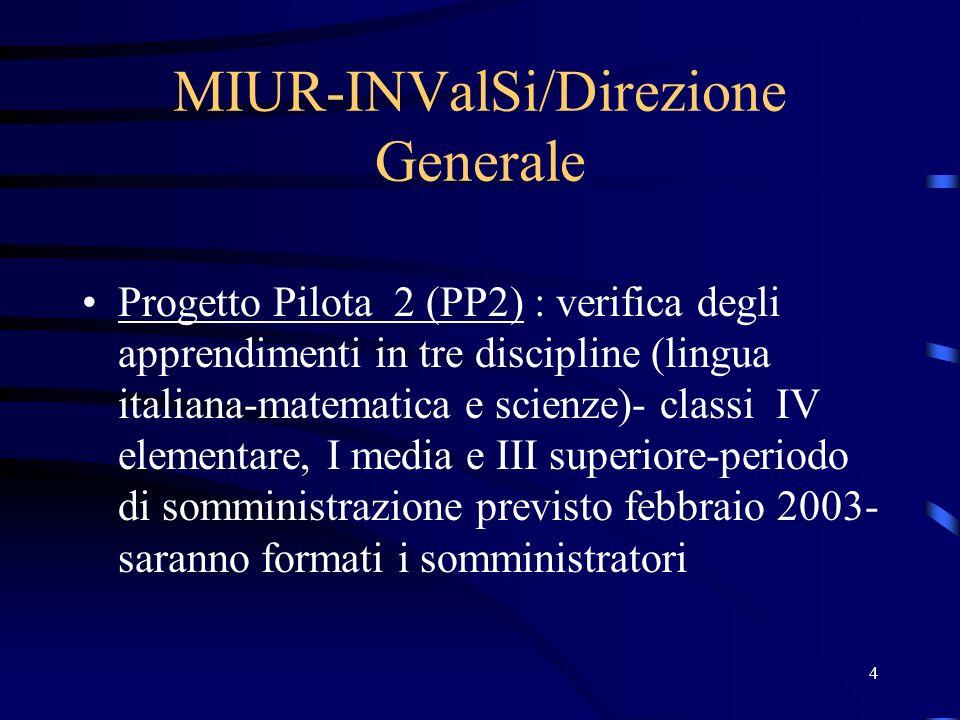 4 MIUR-INValSi/Direzione Generale Progetto Pilota 2 (PP2) : verifica degli apprendimenti in tre discipline (lingua italiana-matematica e scienze)- cla