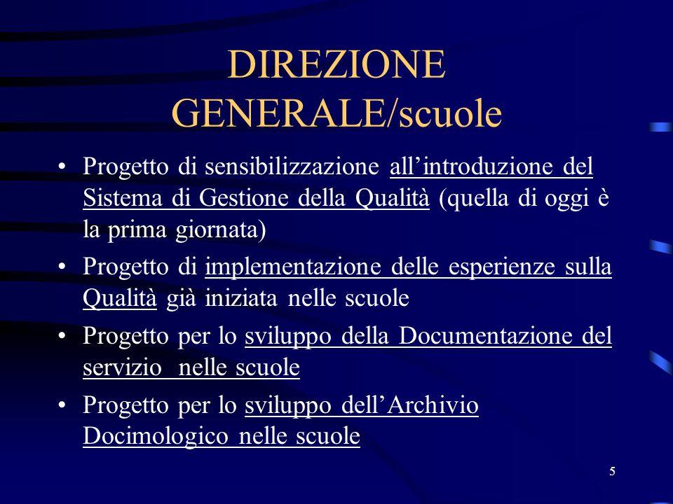 5 DIREZIONE GENERALE/scuole Progetto di sensibilizzazione allintroduzione del Sistema di Gestione della Qualità (quella di oggi è la prima giornata) P