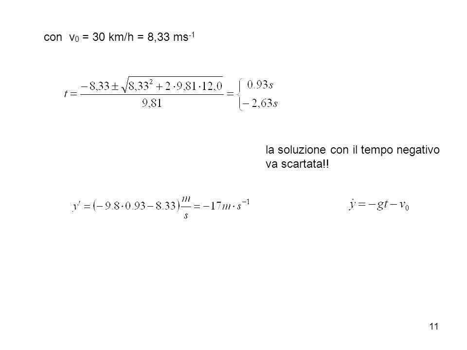 11 con v 0 = 30 km/h = 8,33 ms -1 la soluzione con il tempo negativo va scartata!!