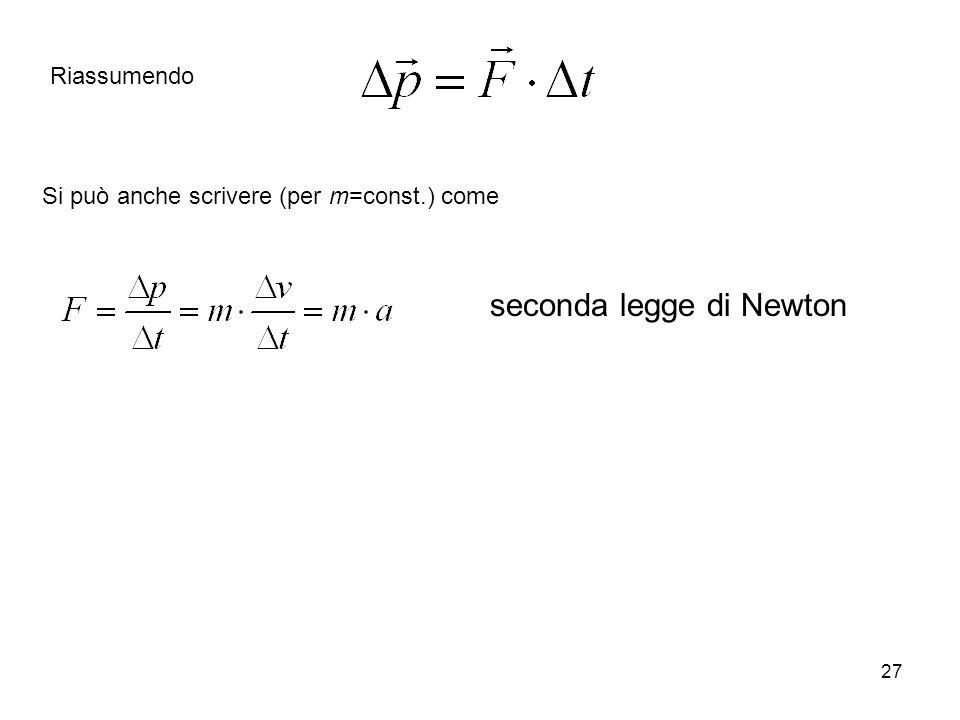 27 Si può anche scrivere (per m=const.) come seconda legge di Newton Riassumendo