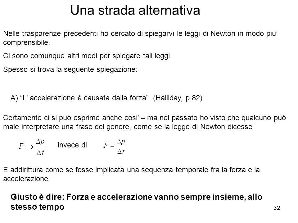 32 Una strada alternativa Nelle trasparenze precedenti ho cercato di spiegarvi le leggi di Newton in modo piu comprensibile.