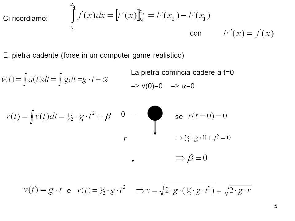 5 r 0 se e La pietra comincia cadere a t=0 => v(0)=0 => =0 con Ci ricordiamo: E: pietra cadente (forse in un computer game realistico)
