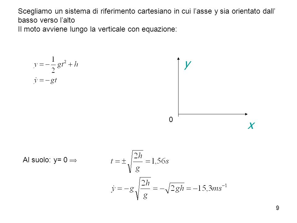9 Scegliamo un sistema di riferimento cartesiano in cui lasse y sia orientato dall basso verso lalto Il moto avviene lungo la verticale con equazione: x y 0 Al suolo: y= 0