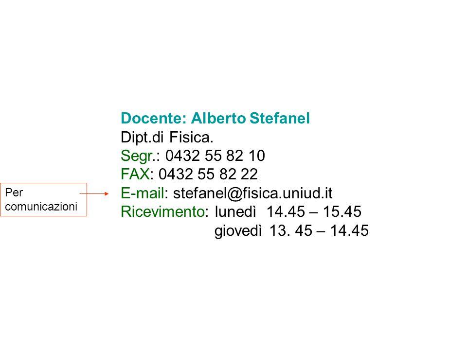 Docente: Alberto Stefanel Dipt.di Fisica. Segr.: 0432 55 82 10 FAX: 0432 55 82 22 E-mail: stefanel@fisica.uniud.it Ricevimento: lunedì 14.45 – 15.45 g