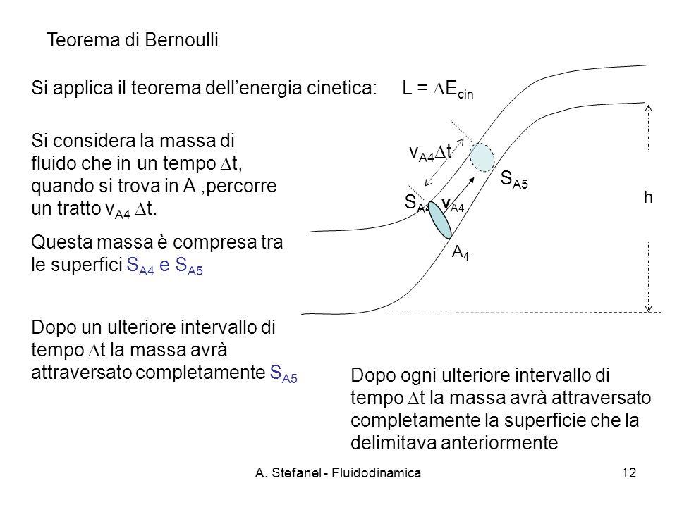 A. Stefanel - Fluidodinamica12 Teorema di Bernoulli v A4 t S A5 v A4 h Si applica il teorema dellenergia cinetica: L = E cin Si considera la massa di