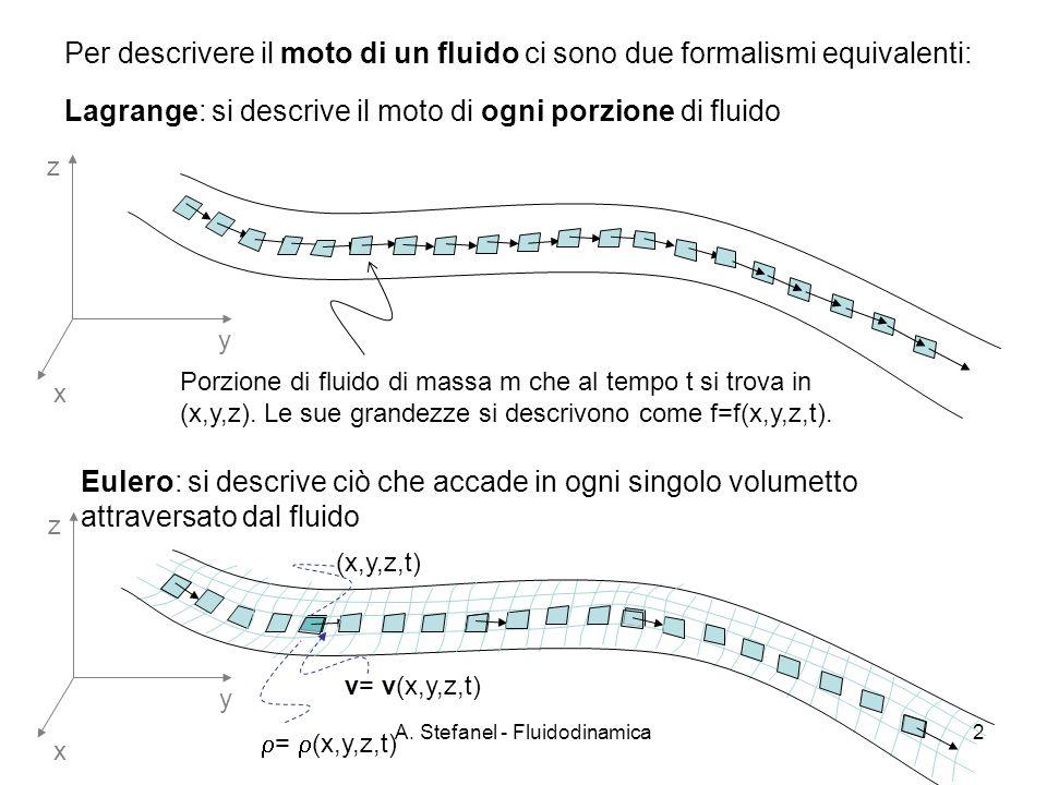 A. Stefanel - Fluidodinamica2 Per descrivere il moto di un fluido ci sono due formalismi equivalenti: x y z Porzione di fluido di massa m che al tempo