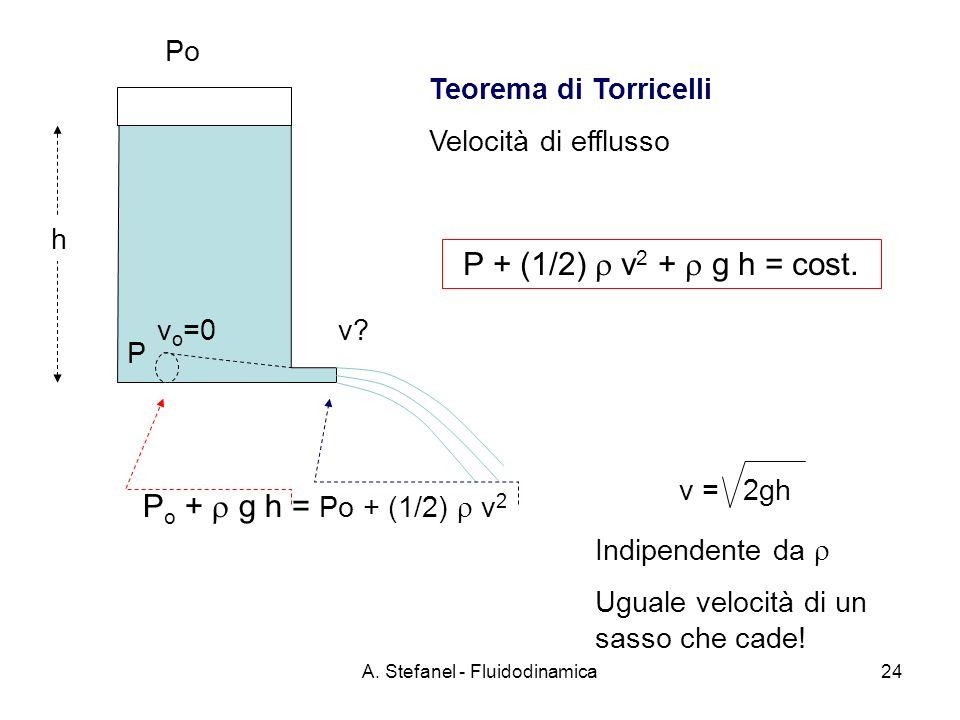 A. Stefanel - Fluidodinamica24 h v?v o =0 P + (1/2) v 2 + g h = cost. Po P o + g h = Po + (1/2) v 2 P Teorema di Torricelli Velocità di efflusso v = 2