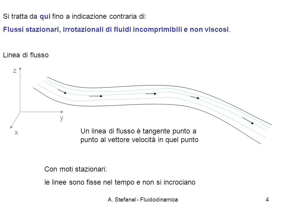 A. Stefanel - Fluidodinamica4 Si tratta da qui fino a indicazione contraria di: Flussi stazionari, irrotazionali di fluidi incomprimibili e non viscos