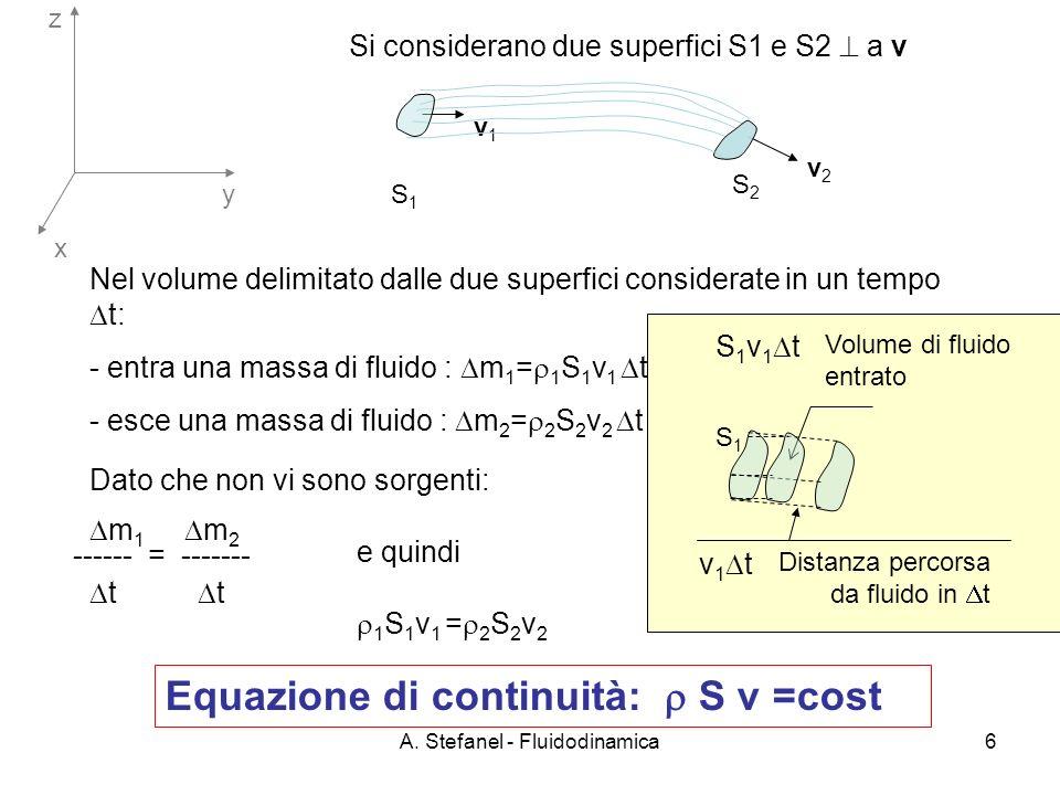 A. Stefanel - Fluidodinamica6 x y z S1S1 S2S2 Si considerano due superfici S1 e S2 a v Nel volume delimitato dalle due superfici considerate in un tem