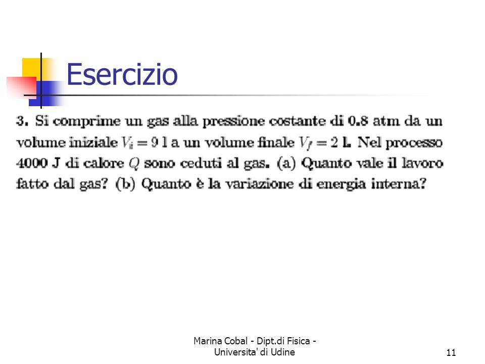 Marina Cobal - Dipt.di Fisica - Universita' di Udine11 Esercizio
