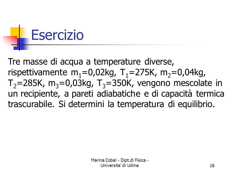Marina Cobal - Dipt.di Fisica - Universita' di Udine16 Esercizio Tre masse di acqua a temperature diverse, rispettivamente m 1 =0,02kg, T 1 =275K, m 2