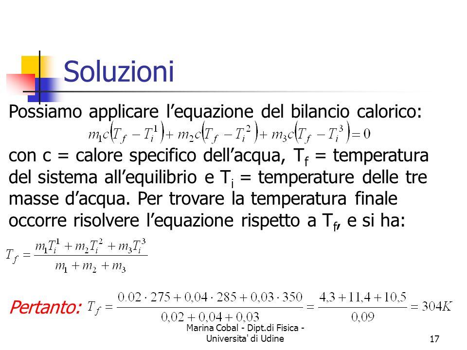 Marina Cobal - Dipt.di Fisica - Universita' di Udine17 Soluzioni Possiamo applicare lequazione del bilancio calorico: con c = calore specifico dellacq