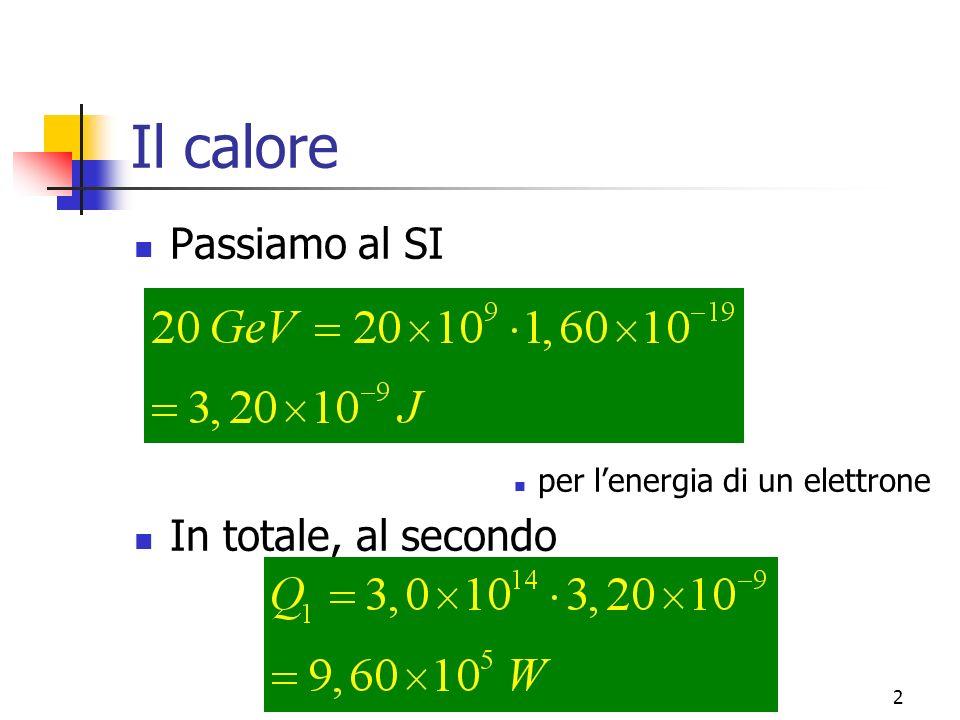 Marina Cobal - Dipt.di Fisica - Universita' di Udine2 Il calore Passiamo al SI per lenergia di un elettrone In totale, al secondo