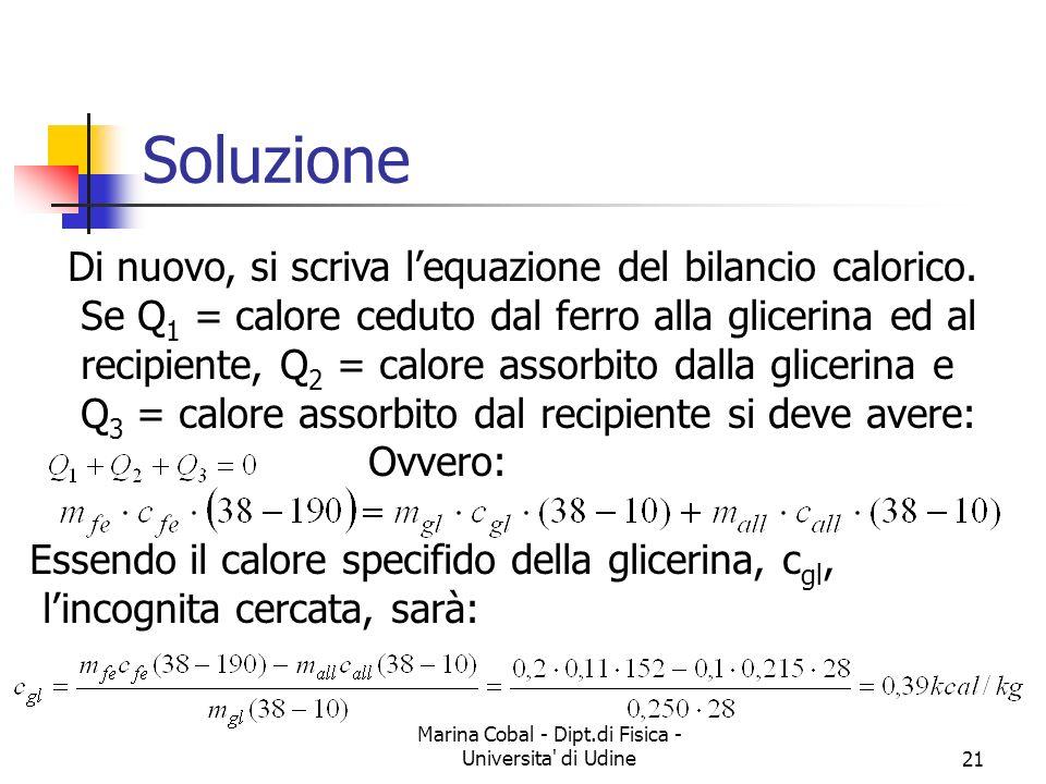 Marina Cobal - Dipt.di Fisica - Universita' di Udine21 Soluzione Di nuovo, si scriva lequazione del bilancio calorico. Se Q 1 = calore ceduto dal ferr
