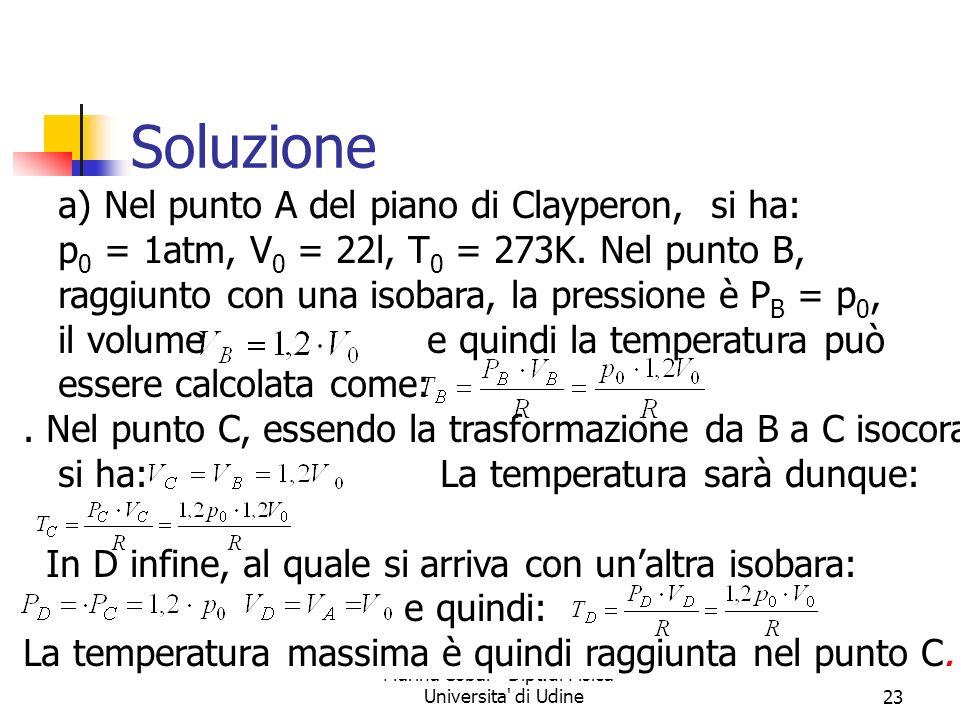 Marina Cobal - Dipt.di Fisica - Universita' di Udine23 Soluzione a) Nel punto A del piano di Clayperon, si ha: p 0 = 1atm, V 0 = 22l, T 0 = 273K. Nel