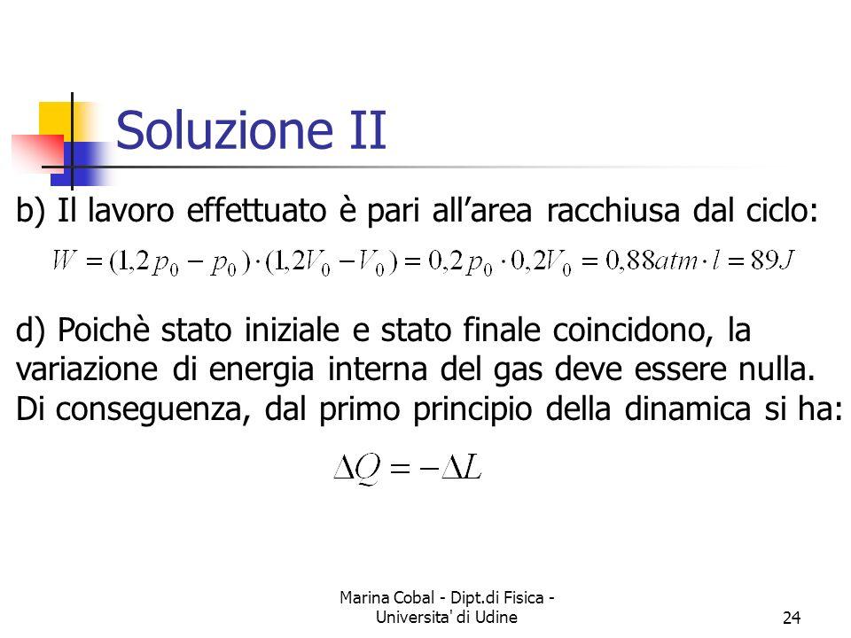 Marina Cobal - Dipt.di Fisica - Universita' di Udine24 Soluzione II b) Il lavoro effettuato è pari allarea racchiusa dal ciclo: d) Poichè stato inizia