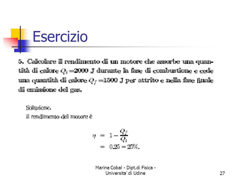 Marina Cobal - Dipt.di Fisica - Universita' di Udine27 Esercizio