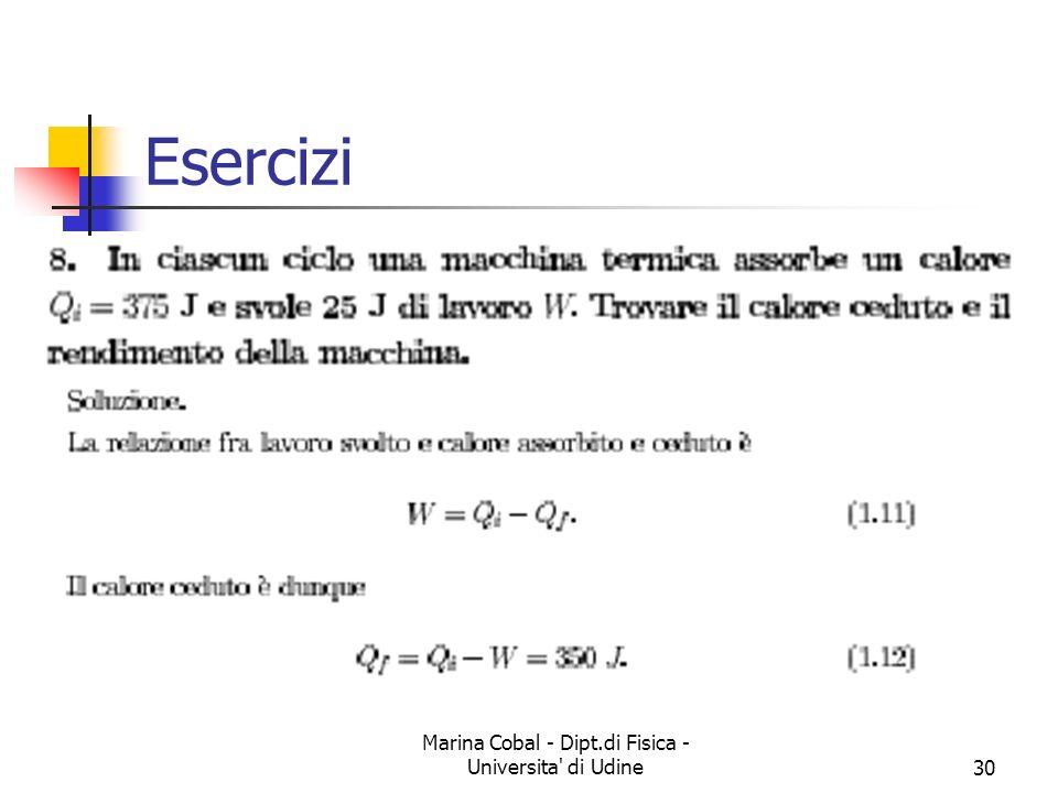 Marina Cobal - Dipt.di Fisica - Universita' di Udine30 Esercizi