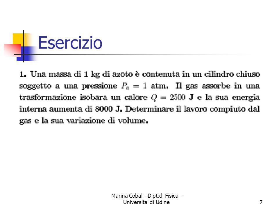 Marina Cobal - Dipt.di Fisica - Universita di Udine18 Esercizio Tre moli di gas ideale monoatomico si espandono in modo adiabatico reversibile fino ad occupare un volume triplo di quello iniziale.