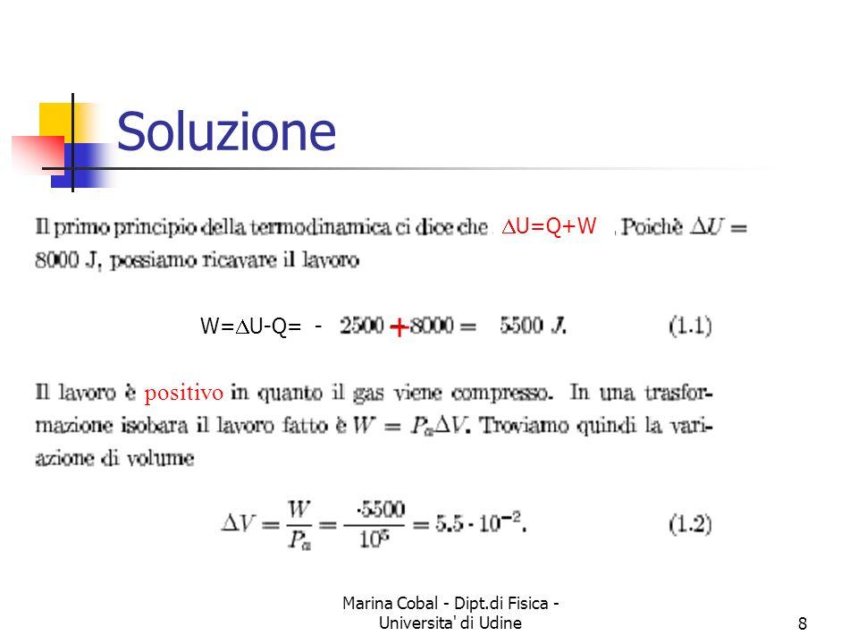 Marina Cobal - Dipt.di Fisica - Universita di Udine19 Soluzioni La temperatura raggiunta dal gas alla fine dell espansione adiabatica può essere calcolata dalla: Ne risulta: (essendo, per un gas monoatomico = 5/3) Il lavoro effettuato durante questa trasformazione è: