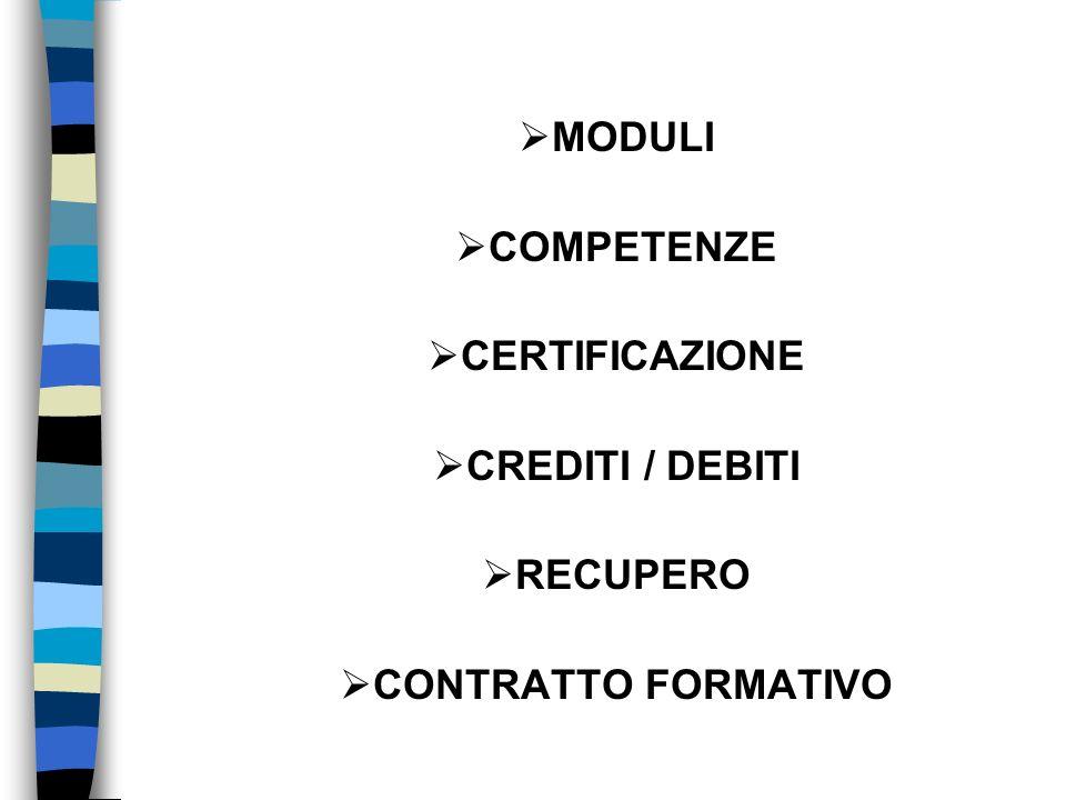 MODULI COMPETENZE CERTIFICAZIONE CREDITI / DEBITI RECUPERO CONTRATTO FORMATIVO