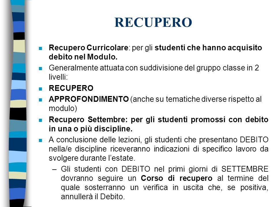 RECUPERO n Recupero Curricolare: per gli studenti che hanno acquisito debito nel Modulo. n Generalmente attuata con suddivisione del gruppo classe in