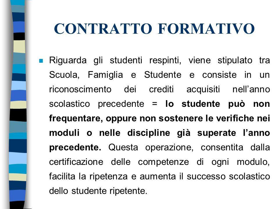 CONTRATTO FORMATIVO n Riguarda gli studenti respinti, viene stipulato tra Scuola, Famiglia e Studente e consiste in un riconoscimento dei crediti acqu